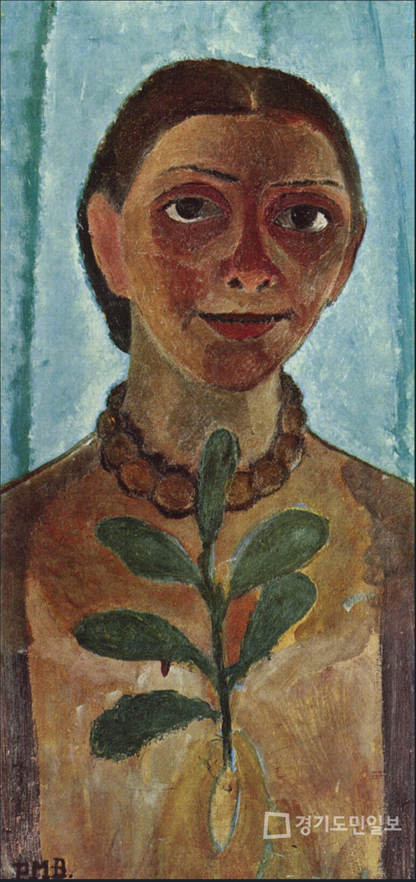 카멜리아 가지가 있는 자화상 Self Portrait with a Camellia Branch(Die Malerin mit Kamelienzweig), 1906~1907.